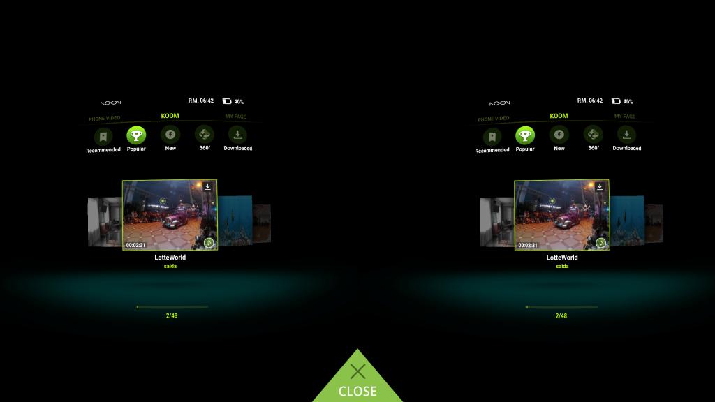 Noon VR App Interface Koom